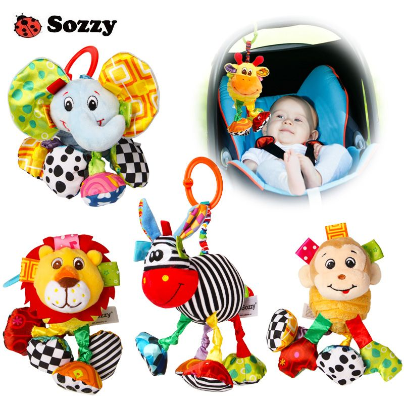Sozzy Baby Soft Plush Stuffed Animal Pull and Shake Vibrate Rattle Crib Mobile Hanging Decorations Funny Bebe Toys for Children