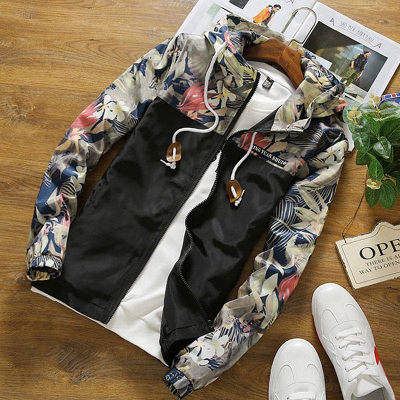 Dropshipping Floral Bomber Jacket 2018 New Autumn Men Hip Hop Slim Fit Flowers Pilot Bomber Jacket Coat Men's Hooded Jackets