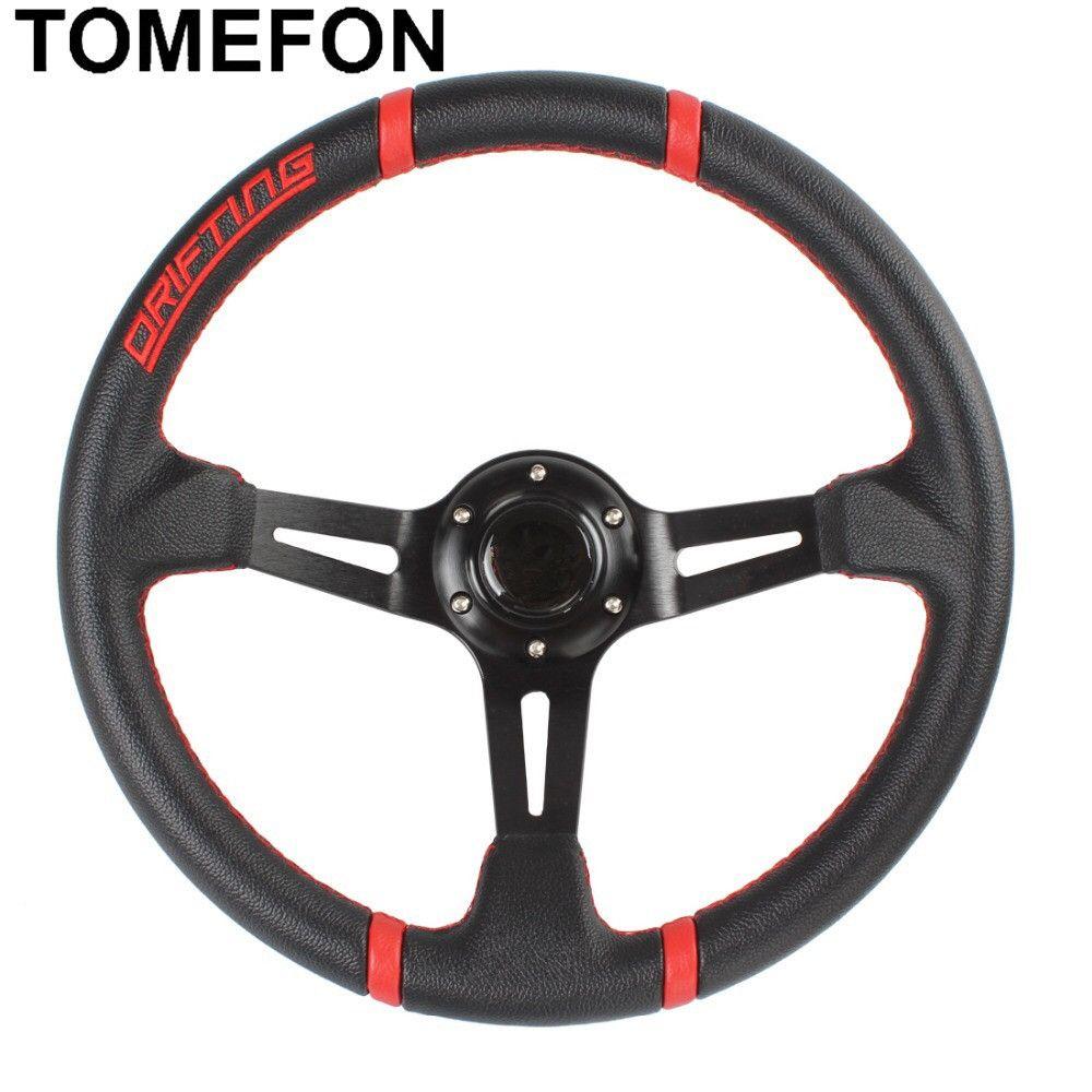 350MM Universal PVC Leather Steering Wheel Racing Water-Proof Slip-Resistant Deep Corn Drifting Sport Steering Wheel