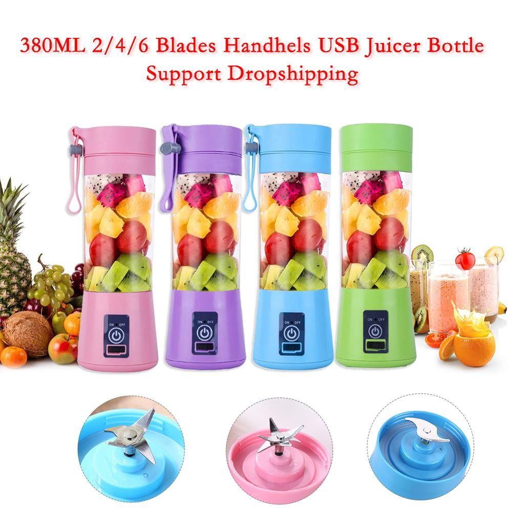 380 ML 2/4/6 lames Handhels USB presse-agrumes bouteille Portable USB électrique fruits agrumes citron presse-agrumes mélangeur presse-fruits alésoir Machine