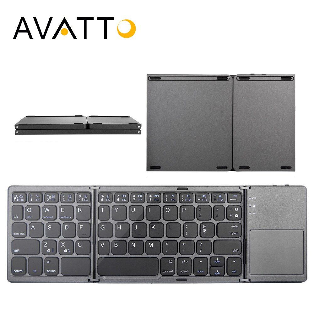 [AVATTO] B033 Portable Bluetooth Folding Mini Keyboard, Foldable BT Wireless Touchpad Keypad For IOS/Android/Windows ipad Tablet