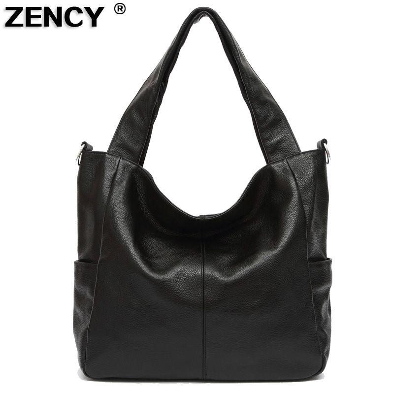 ZENCY New Large Real Genuine Leather Handbags Luxury Famous Brands Women Ladies Satchel Shoulder Messenger Black/Coffee/Brown
