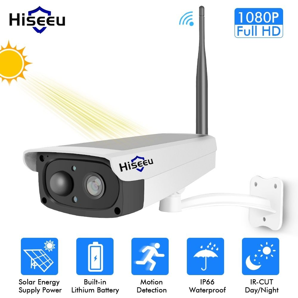 Hiseeu Solar Panel Rechargeable Batter Security WIFI IP Camera Outdoor 1080P Motion Detection E-mail Alert New PIR Sensor