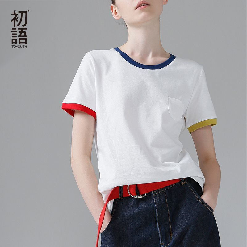 Toyouth Hit Color <font><b>Edge</b></font> Tees For Women Basic Cotton T-Shirt Casual O-Neck Tee Shirt Femme S~XXL Summer Tops Short Sleeve T-Shirts