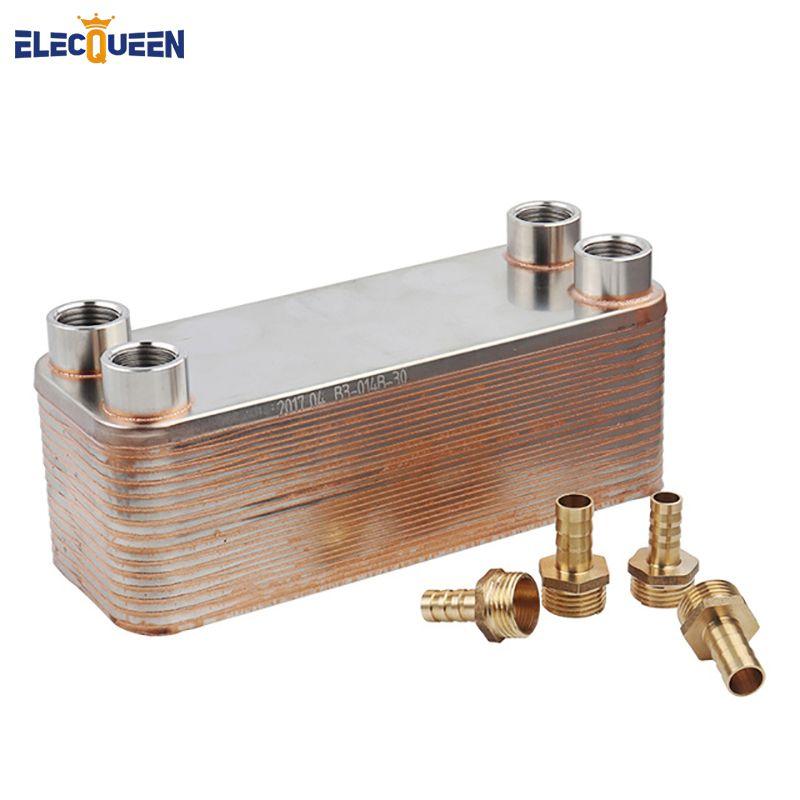 Plate heat exchanger Stainless Plate Wort Chiller - 30 Plate Wort Chiller, 20mm Garden hose Thread & 4pcs Hose Barb