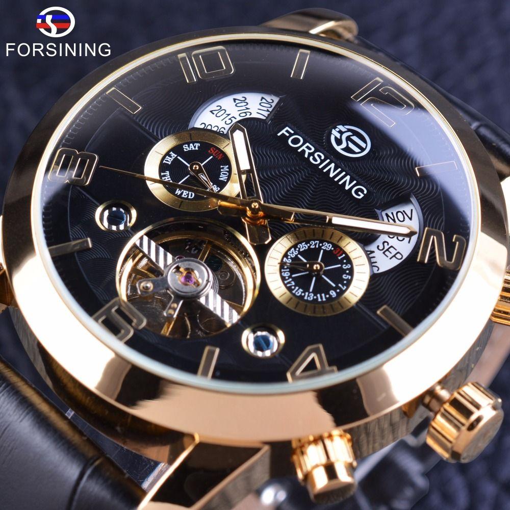 Forsining Golden Bezel Tourbillion Men Watch Fashion Self Winding Automatic Wrist Watch Male Clock Top Brand Mechanical Luxury