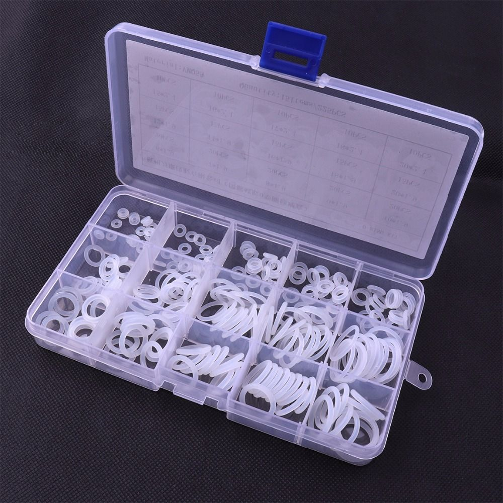 O Ring Hot 225Pcs 15 Sizes O-Ring White VMQ Silicon O Ring Good Elasticity Washer Gasket Sealing Ring Assortment Kit with Case