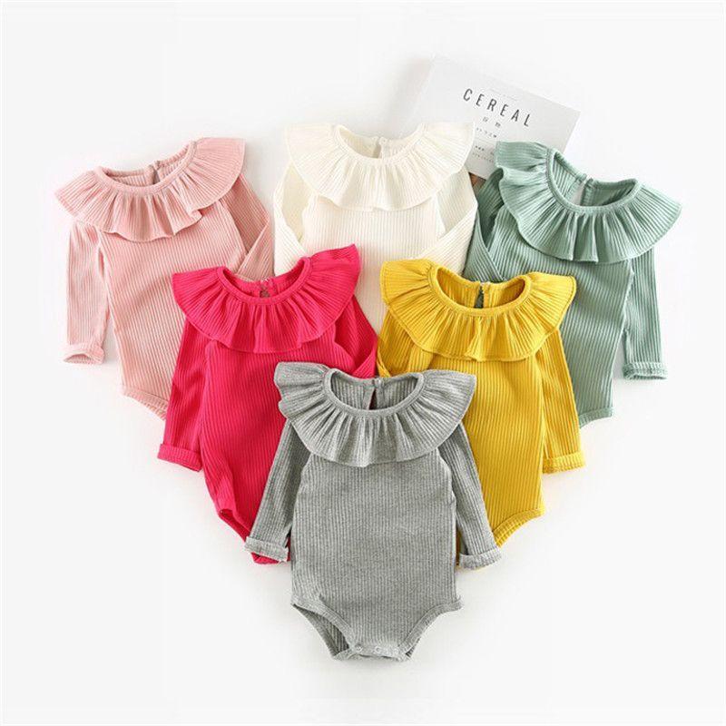 Primavera otoño niña punto Mamelucos princesa recién nacido Ropa Niñas Niños manga larga mono niños del Bebé Ropa