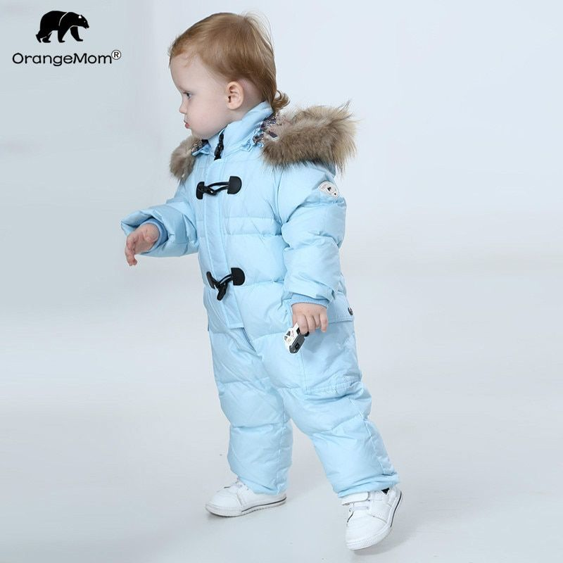 Orangemom jumpsuit kids winter baby snowsuit + nature fur , 90% duck down jacket for <font><b>girls</b></font> coats Winter Park for boys overalls