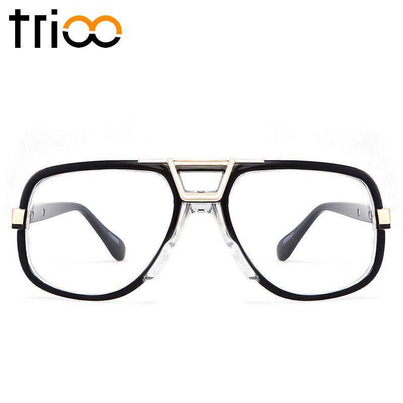 TRIOO Carré Designer Lunettes Accessoires Noir Cadre Objectif Clair Lunettes Cadre Pour Hommes Cool Mode Ordinateur Lunettes Oculos