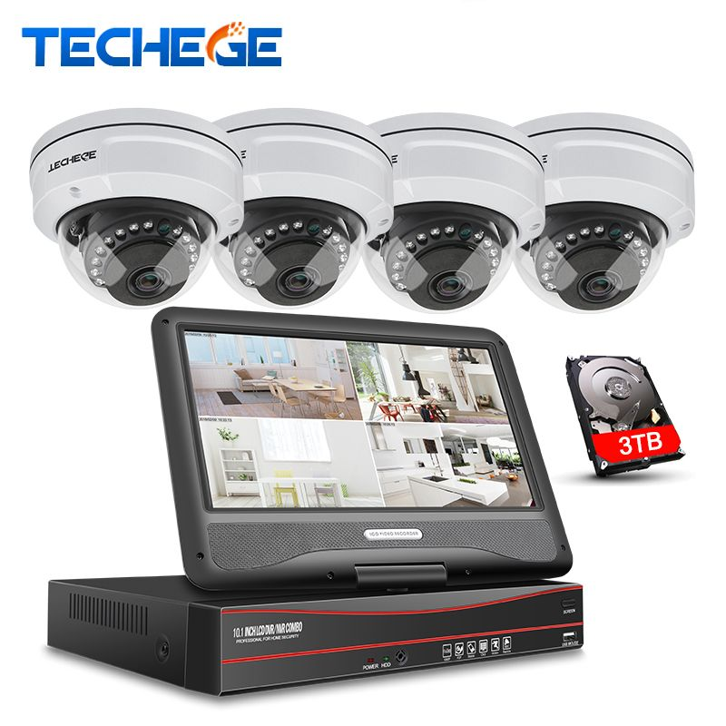Techege 8CH 1080P POE NVR kit With 10.1'' LCD Monitor 2MP 3000TVL Vandalproof PoE IP Camera Night Vision Video Surveillance Kit
