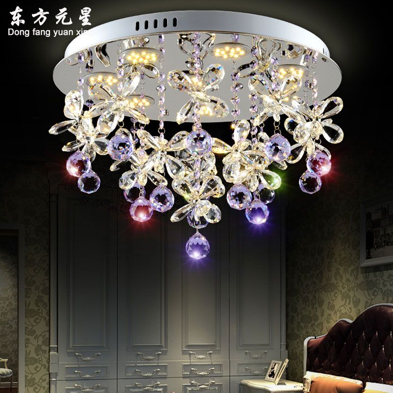 crystal chandelier light crystal led lamp butterfly petals flower for living room dining room hanging lamp