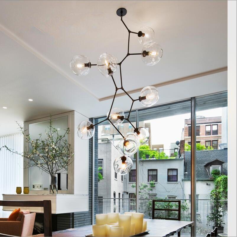 Loft Industrie 10 lichter H200cm Gold Anhänger Lichter Schwarz Gold für Bar Treppenhaus Esszimmer Glasschirm Retro 110-240 V