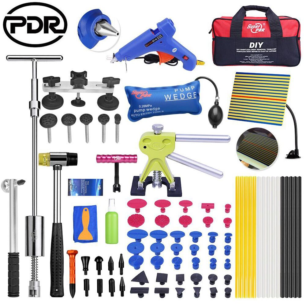 PDR Tools Remove Dents Paintless Dent Removal Tools Set Car Repair Tool Kit Reflector Dent Puller Suction Cups Glue Tabs