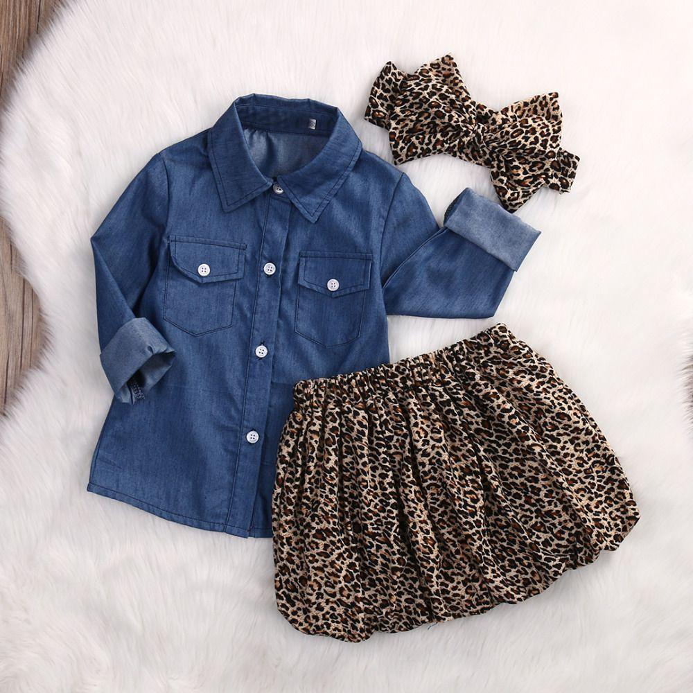 3 PC enfant en bas âge bébé filles tenues Denim chemise + léopard jupe + bandeau mode enfants filles vêtements ensemble