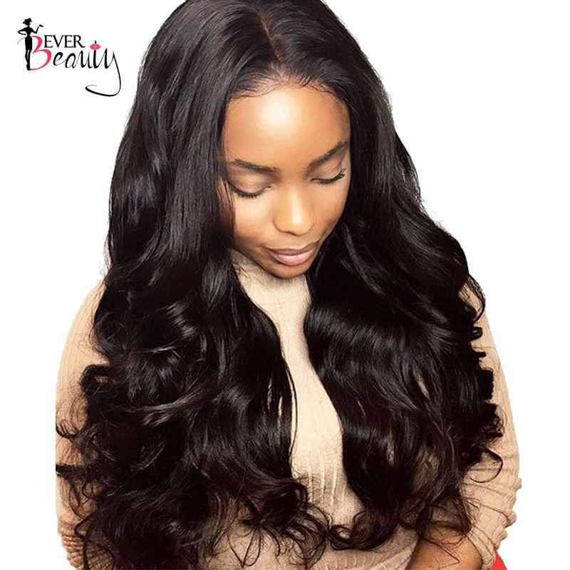 Immer Schönheit 250% Dichte Spitzefront Menschliches Haar Perücken Körperwelle Brasilianische Remy Haar 14-24 zoll Natürliche Schwarz farbe
