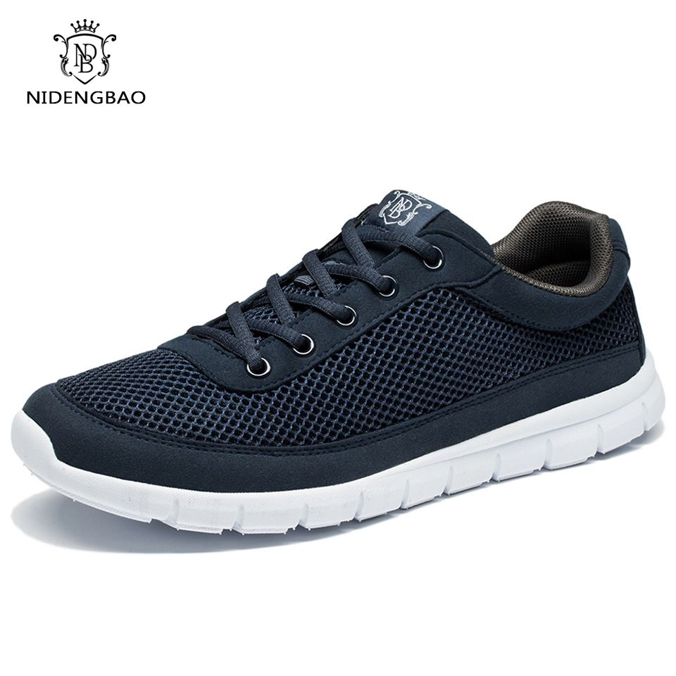 Brand Men Casual Shoes Breathable Lace-Up Walking Shoes Spring Lightweight Comfortable Walking Men Shoes <font><b>Black</b></font> Plus Size 48