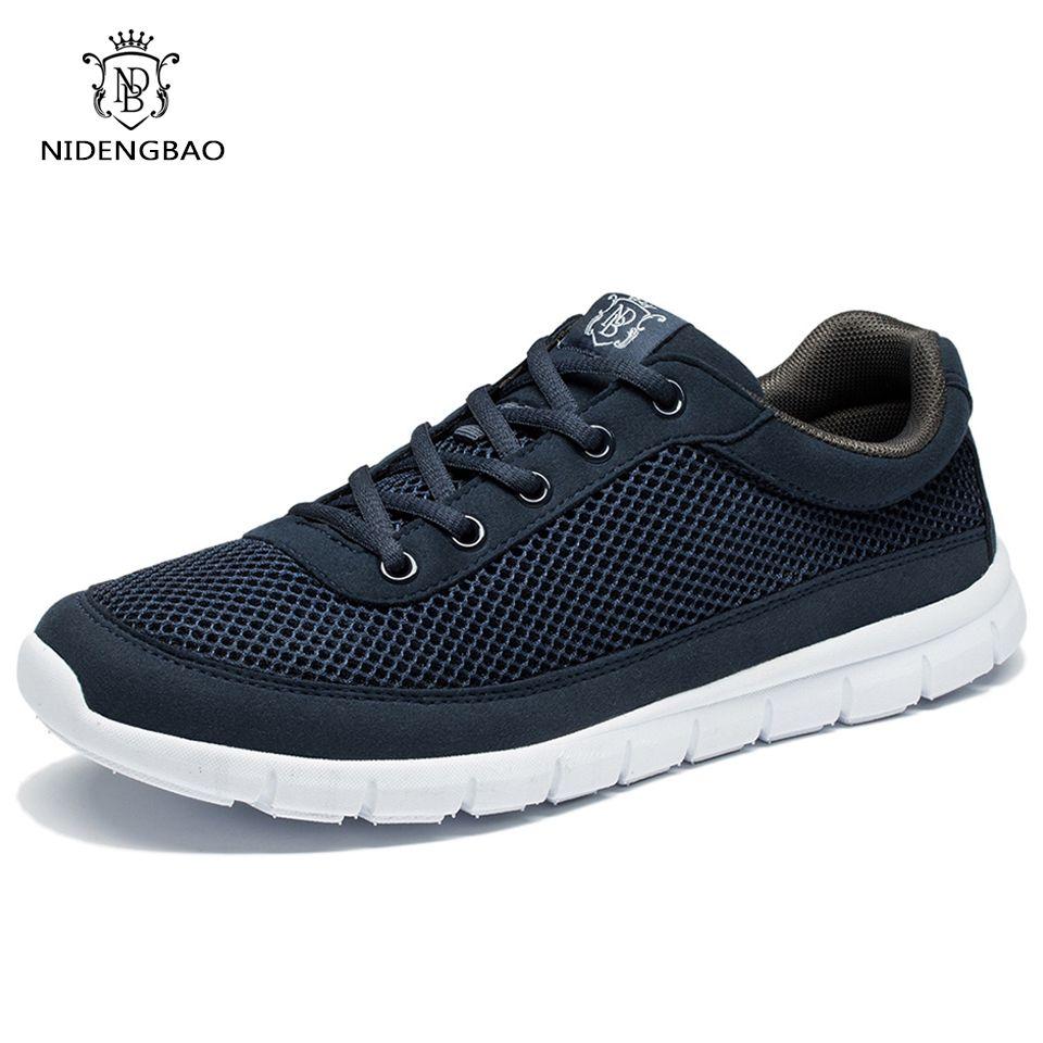 Brand Shoes Men Casual Breathable Lace-Up Walking Footwear Lightweight <font><b>Comfortable</b></font> Mesh Sneakers Men Shoes Black Plus Size 49 50