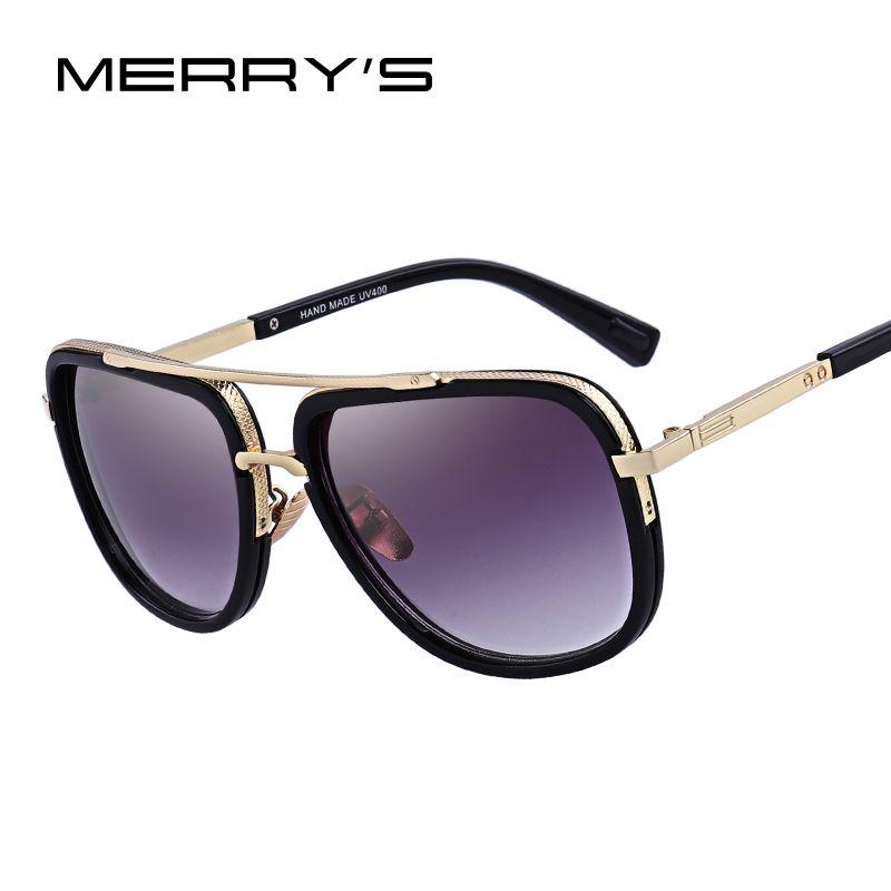 MERRY'S mode hommes lunettes de soleil classique femmes marque Designer métal carré lunettes de soleil UV400 Protection S'662