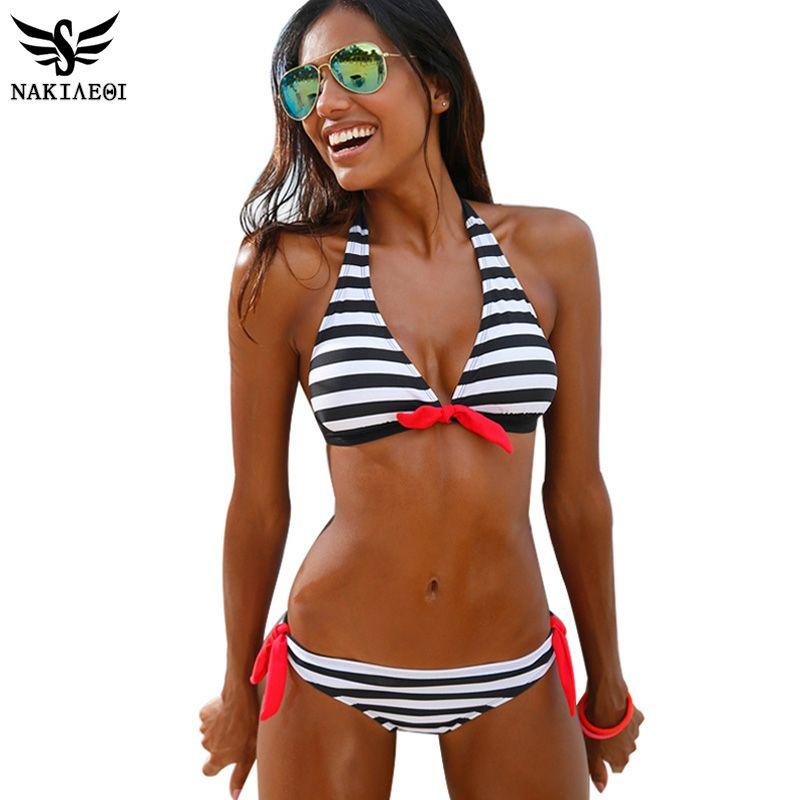 NAKIAEOI 2017 Sexy Bikinis Women Swimsuit Swimwear Halter Top Plaid Brazillian Bikini Set Bathing Suit Summer Beach Wear Biquini