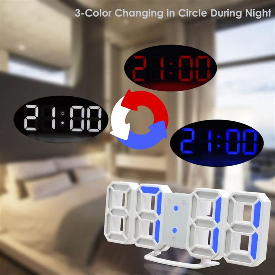New 1PC 3 Color changeable Digital LED Table Night Wall Clock Alarm Watch 24 or 12 Hour Display High Quality LED clock