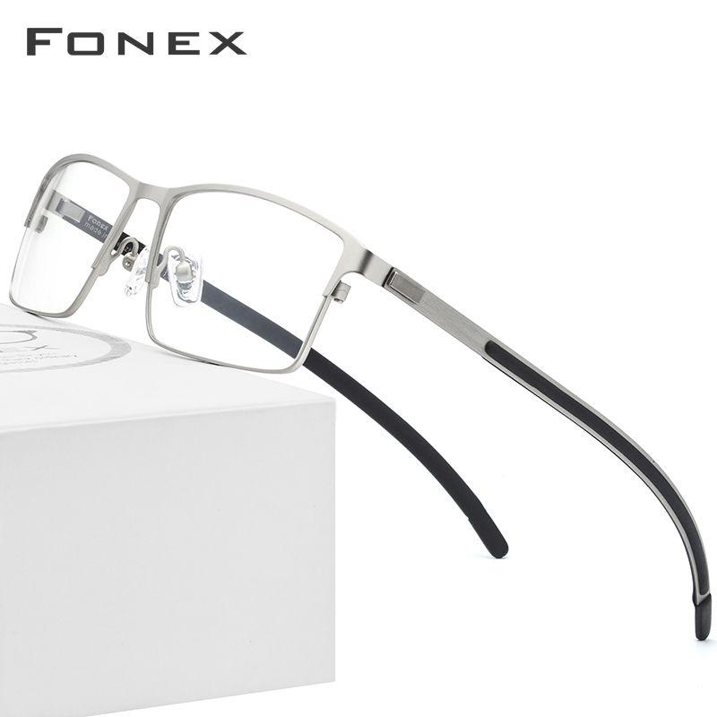 Alliage de titane lunettes optiques cadre hommes ultralégers carré myopie Prescription lunettes 2019 mâle métal plein sans vis lunettes
