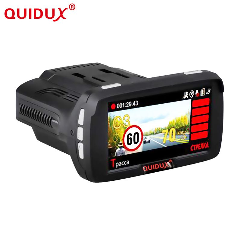 QUIDUX Russian Ambarella A7 Car 2.7 Inch Screen display Speed Radar Detector Fixed and flow Velocity 3in1 Car Camera DVR GPS