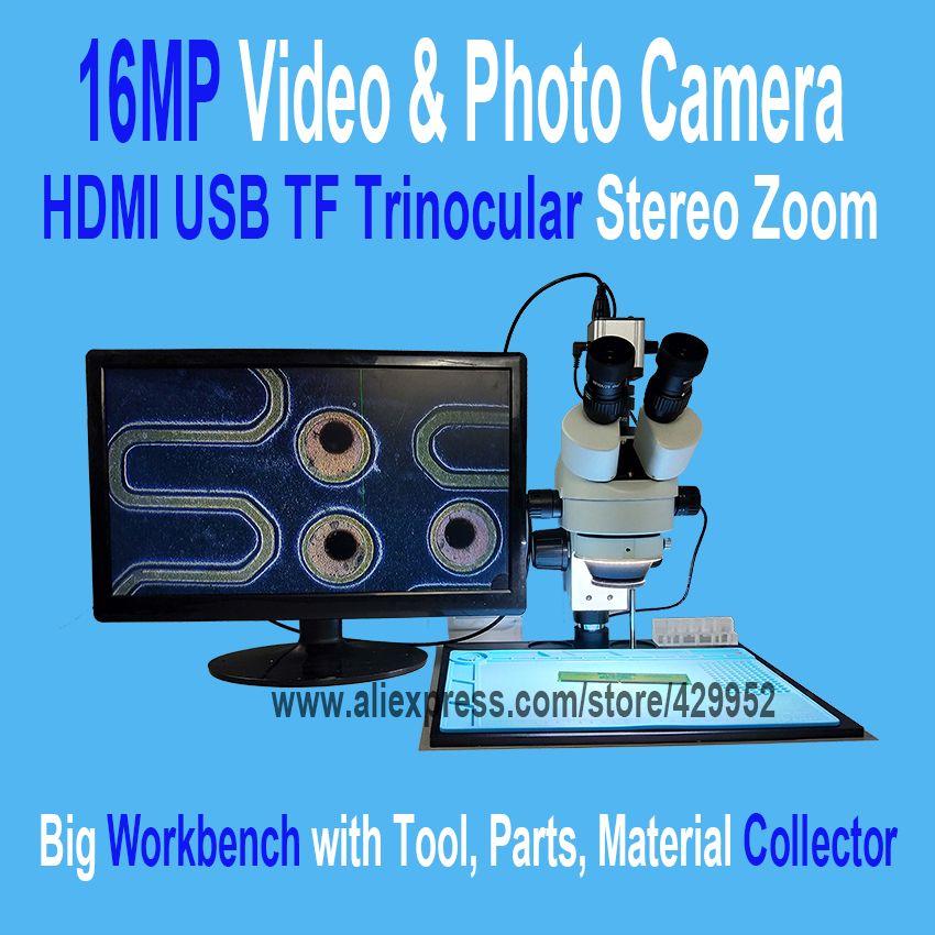 16MP 3,5-90X Löten Trinokular Stereo Mikroskop Stehen Objektiv HDMI USB Digital Elektronische Kamera für Reparatur Handy Werkzeuge