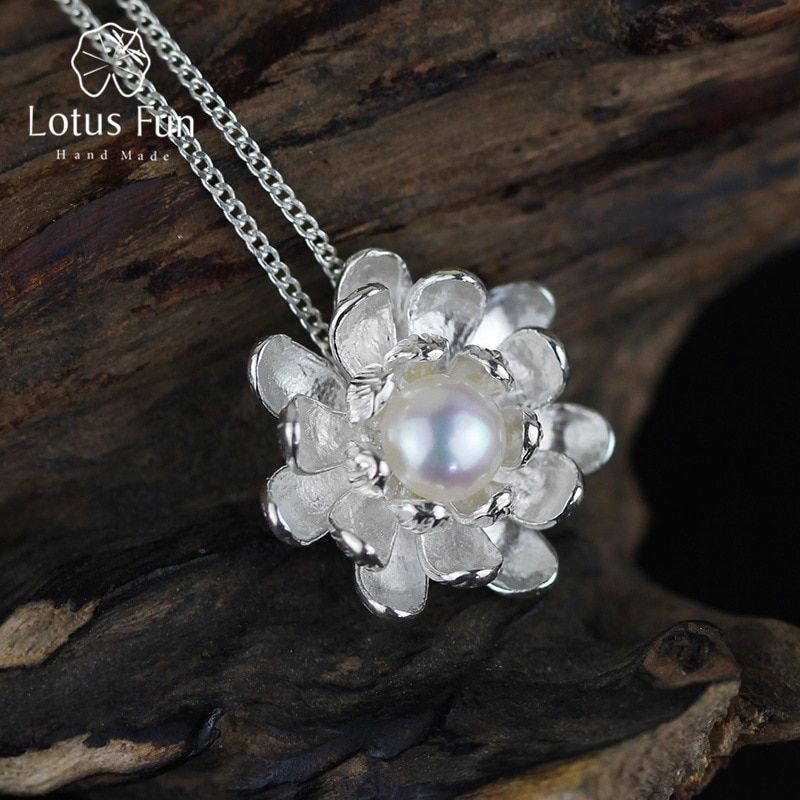 Lotus Fun Real 925 Sterling Silver Natural Pearl Handmade Fine Jewelry Blooming Lotus Design Pendant without Necklace for Women