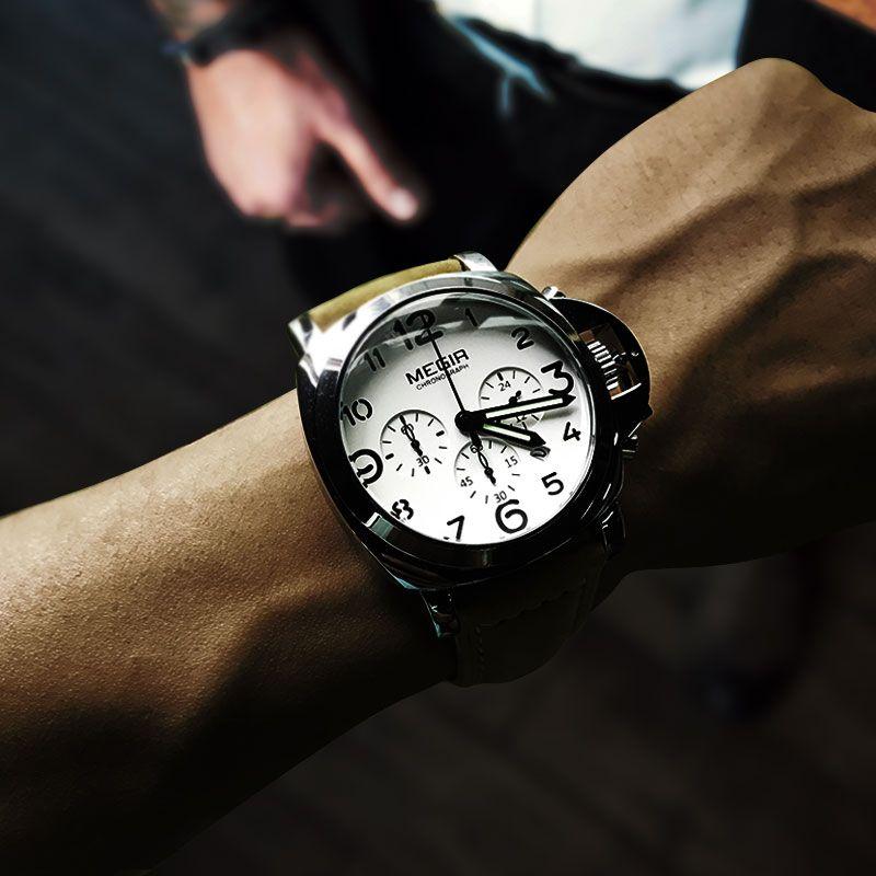 Megir hommes chronographe montres à Quartz lumineux avec calendrier Date ronde analogique bracelet en cuir militaire montre-bracelet homme ML3406G