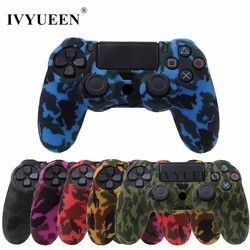 IVYUEEN For Sony Dualshock PS4 DS4 Slim Pro Controller Silicone Camo Case Protective Skin + Thumb Stick Caps for Play station 4
