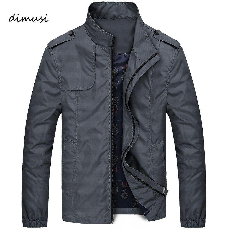 DIMUSI Autumn Men Jacket Windbreaker Male Overcoat Casual Solid Jacket Slim Fit Stand Collar Men Windproof Jacket Coat 5XL,YA685