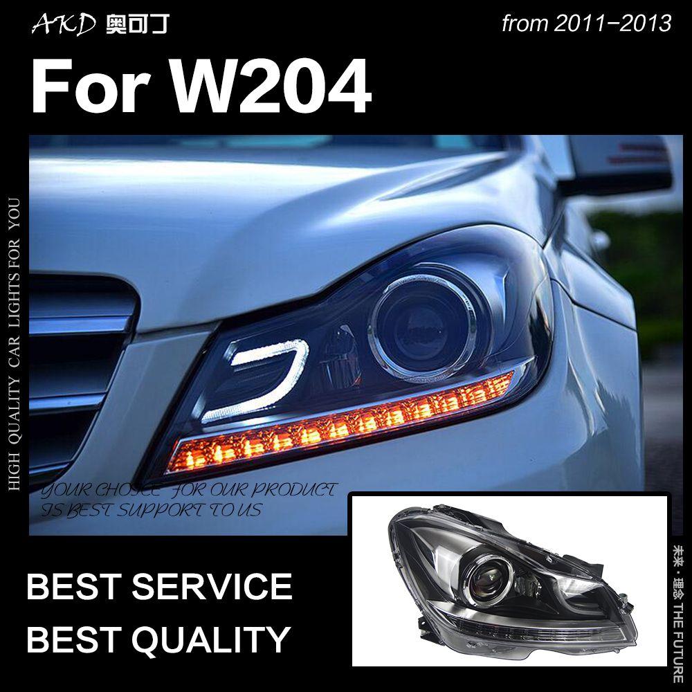 AKD Car Styling Head Lamp for W204 Headlights 2011-2013 C200 C260 Headlight LED DRL Signal Lamp Hid Bi Xenon Auto Accessories