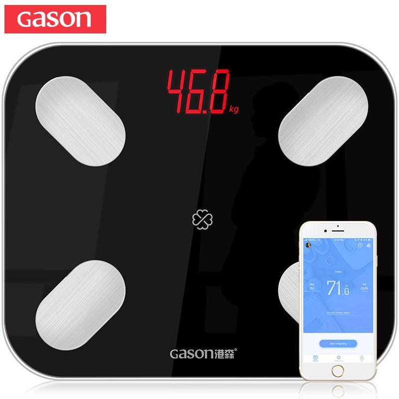 GASON S4 corps graisse échelle sol scientifique intelligent électronique LED numérique poids salle de bains Balance Bluetooth APP Android ou IOS