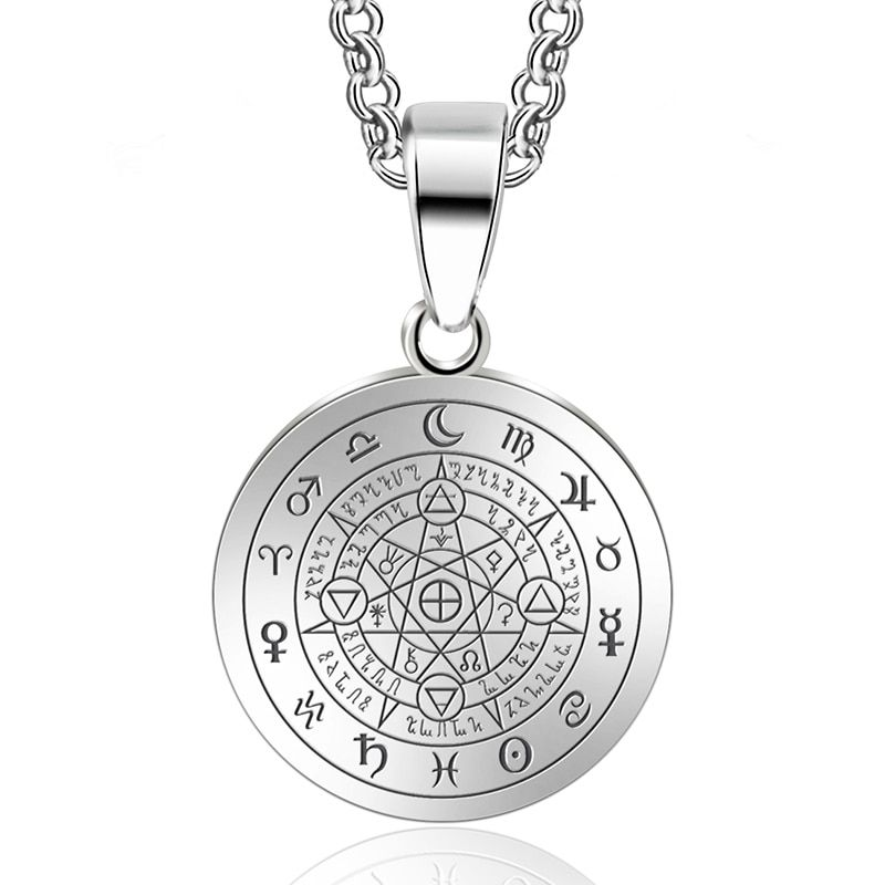 Abaicer Sigil Black Magic Witchcraft Pendant Choker Statement Silver Stainless Steel Necklace Seals of Seven Archangel