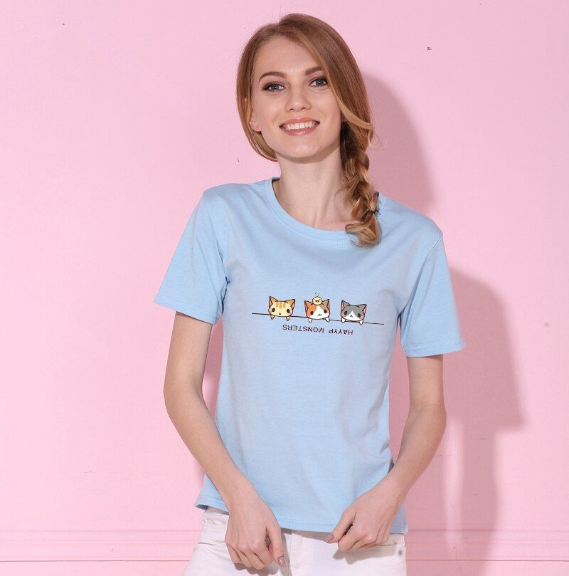 Kawaii mignon charmant chaton chats imprimé été marque Design imprimé femmes coton t-shirts Harajuku nouvelle mode à manches courtes haut