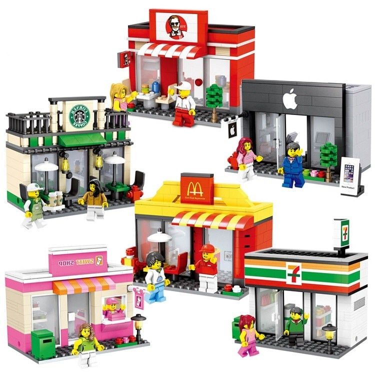 Mini Street Model Store Shop with Starbucks Apple KFC McDonald`s Building Block Toys Compatible with Lego Hsanhe