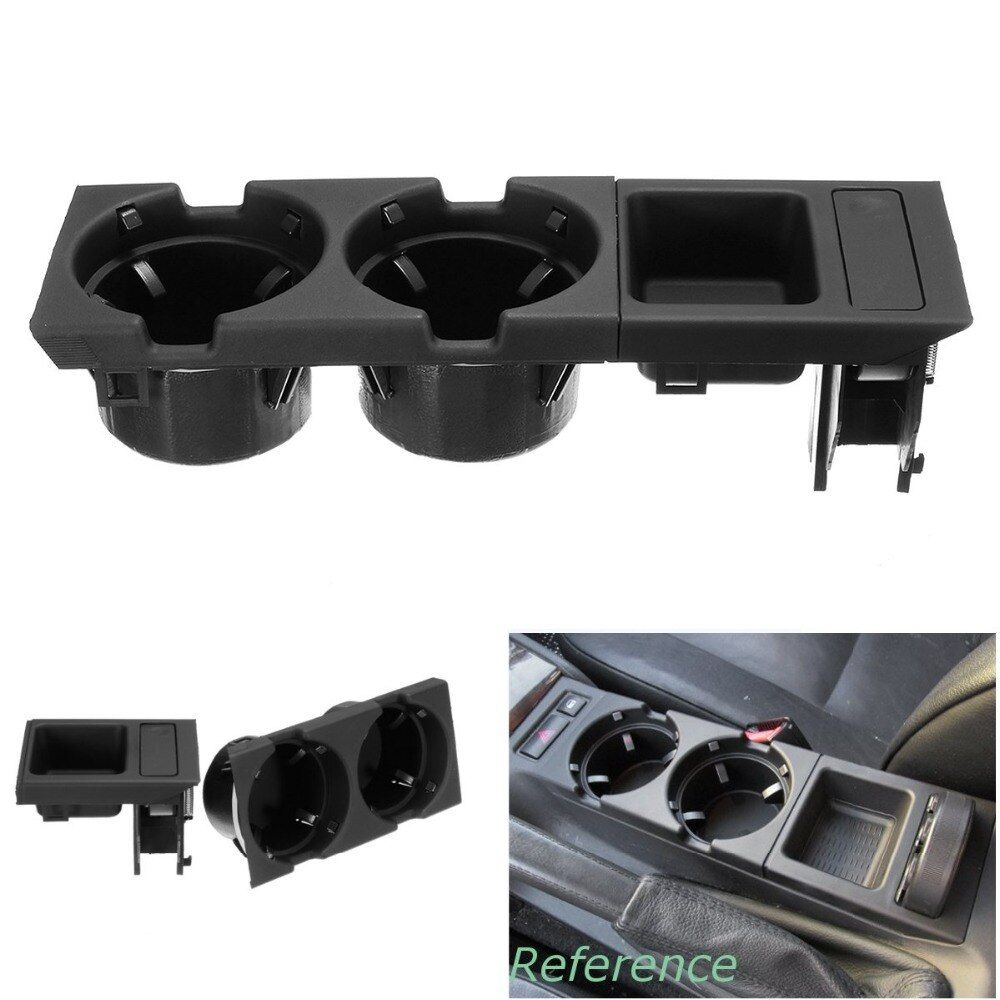 Black Front Car Center Console Cup Box Dual Drinks Cup Holder For BMW 3 Series E46 318i 320i 325xi 1998-2006 # 51168217953