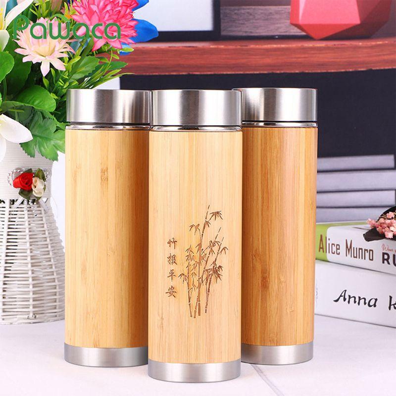 Gobelet en bambou Original avec passoire à infuseur de thé bouteille d'eau en acier inoxydable tasse de voyage isolée pour thé au café chaud/froid