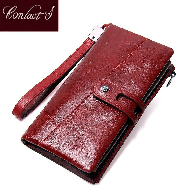 Contact's NEW 2018 Genuine Leather Women Wallets Long Design Clutch Cowhide Wallet High Quality Fashion Female Purse Phone Bags