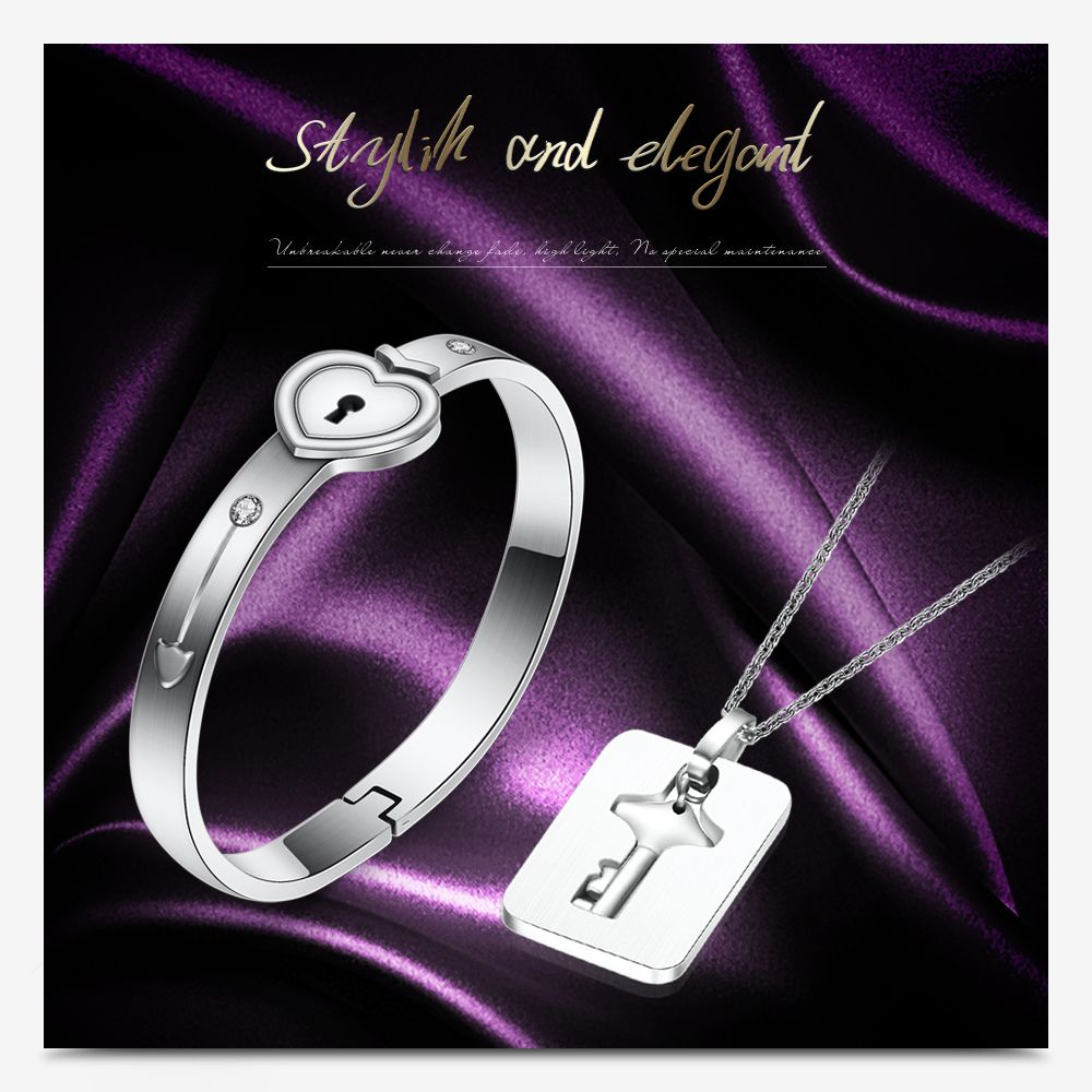 Fashion Lovers Couple Jewelry Sets Stainless Steel Love Heart Lock Bracelets Bangles Key Pendant Necklace Set Jewelry Best Gifts