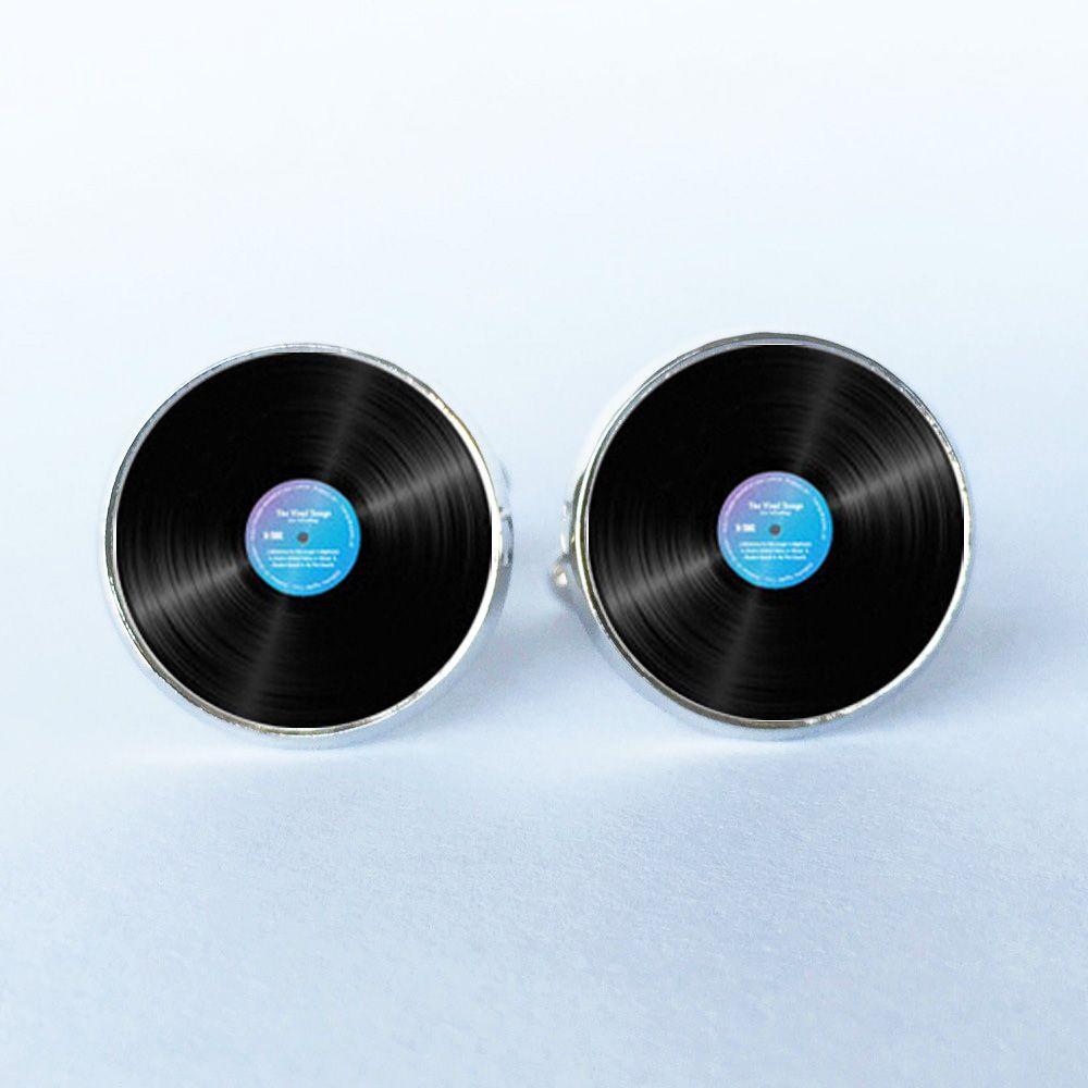 1 par envío gratis astilla ronda negro gemelos gemelos música disco de vinilo oro de la mancuerna de gemelos para hombre