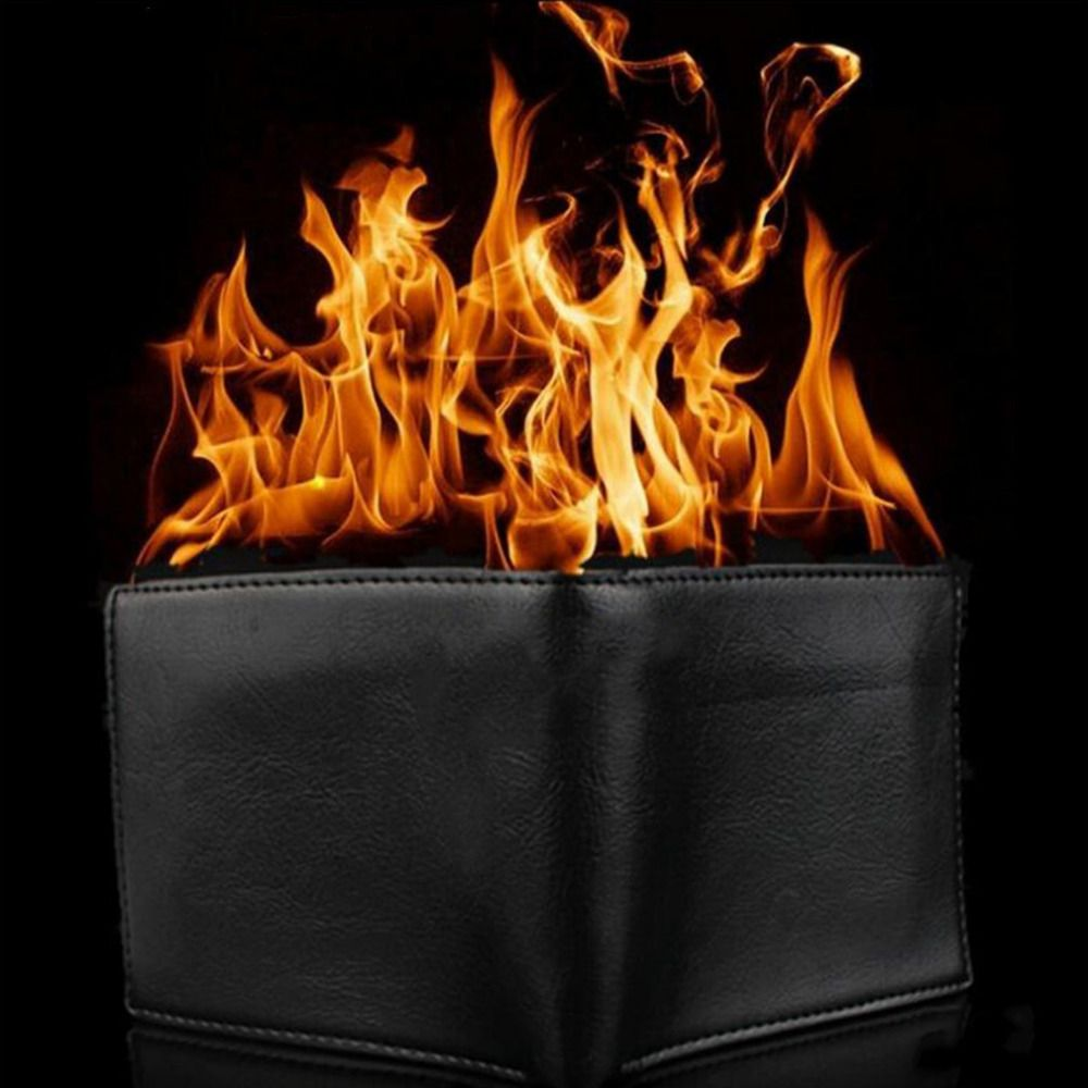 1pc Novelty Magic Trick Flame Fire Wallet Big flame Magician Trick Wallet Stage Street Show Fashion Rubber Bifold Wallet Funny