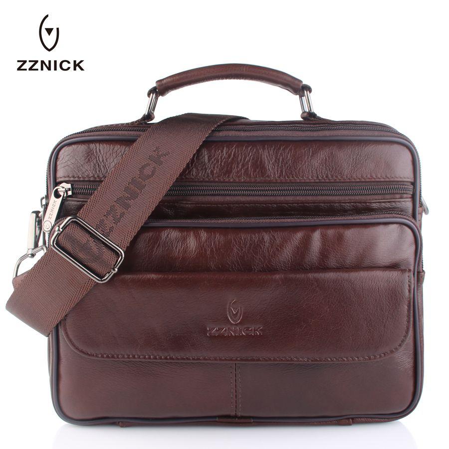ZZNICK 2018 Men Genuine Leather Messenger Bag Male Cowhide Leather Crossbody Shoulder Bag Vintage Design Men Hnadbag Briefcase
