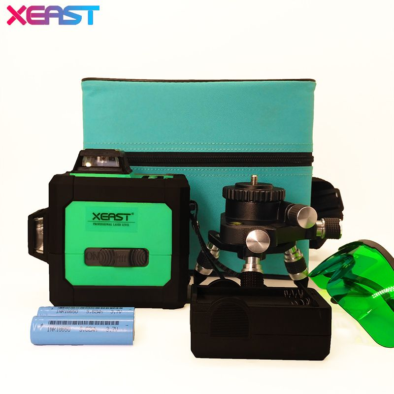 Xeast 12 líneas verde Niveles de láser autonivelante 360 horizontal y vertical Cruz Super potente Línea Verde láser