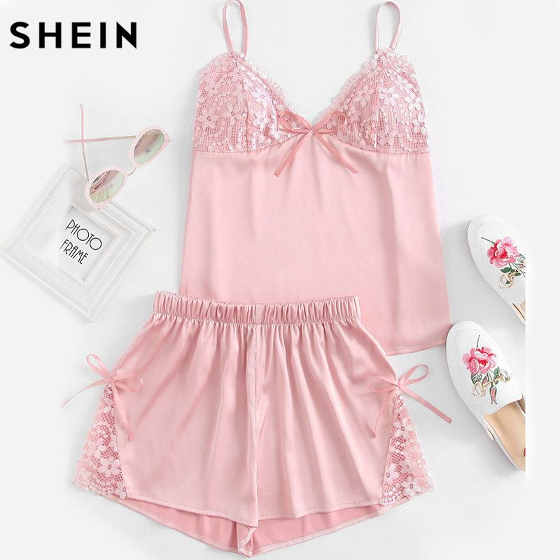 SHEIN Rosa Pijama De Verano para Mujer Floral Detalle de Encaje Correa de Espagueti Bralette Cami Top Con Shorts Pijama Set