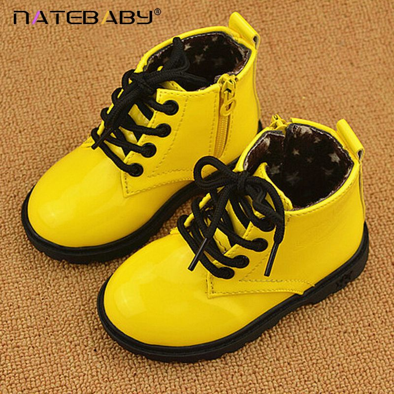 Natebaby 2017 Winter New Design High Grade Children Martin Boots Solid Color Patent Leather Baby Shoes NG0525