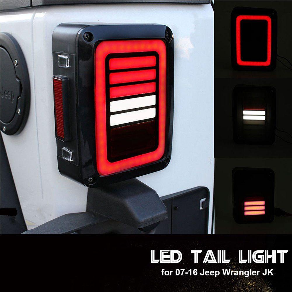 LED Rückleuchten Rauch Objektiv Für Jeep Wrangler 2007-2017 JK JKU mit Brechen Back Up Light Umge Schalten Parkplatz Signallampeneinheit