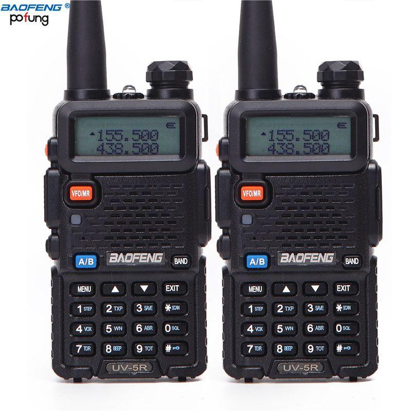 2 pièces Baofeng BF-UV5R Radio amateur talkie-walkie portables Pofung UV-5R 5 W VHF/UHF Radio Dual Band Two Way Radio UV 5r CB Radio