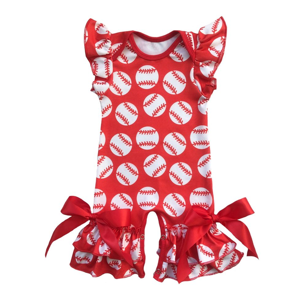 Baby <font><b>Girl</b></font> Romper Infant Baseball Puff Sleeve Jumpsuit Newborn Birthday Outfit Ruffle Onesie for Baby <font><b>Girls</b></font> One piece
